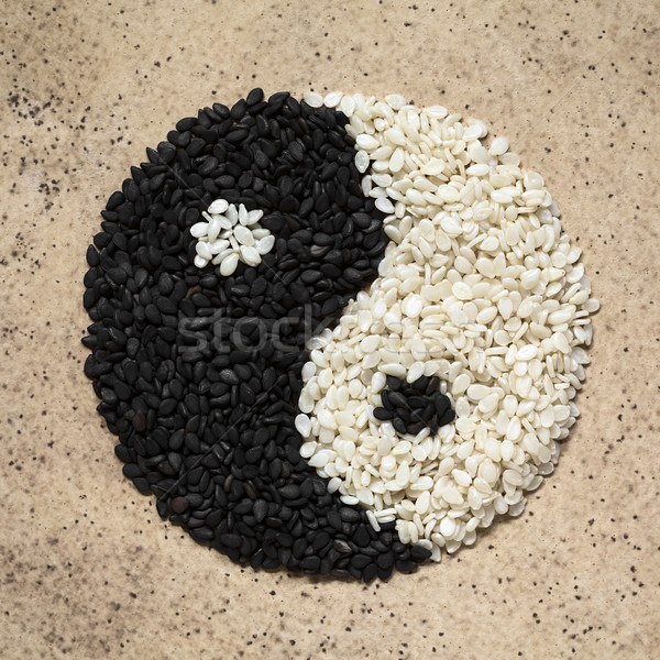 Black and White Sesame Seeds in Yin and Yang Shape Stock photo © ildi