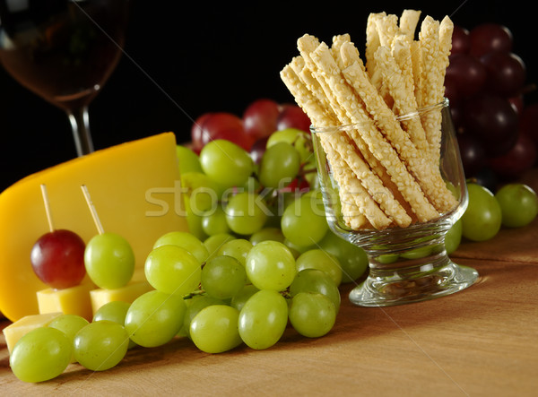 Sesam witte druiven snack kaas Stockfoto © ildi
