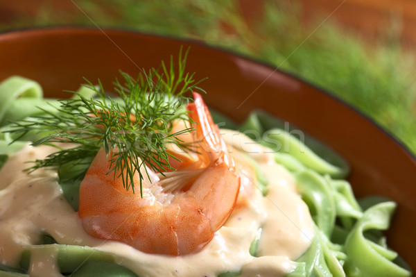 Green Tagliatelle with Shrimp Stock photo © ildi
