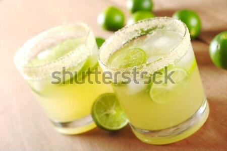 新鮮な レモネード 緑 ガラス 木板 オレンジ ストックフォト © ildi