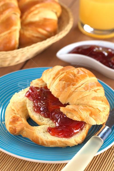 Croissant with Strawberry Jam Stock photo © ildi