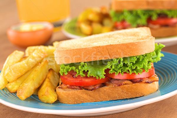 ストックフォト: Blt · サンドイッチ · フライドポテト · 新鮮な · 自家製 · ベーコン