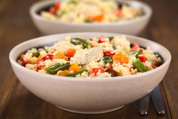 Couscous kip groene bonen wortel twee Stockfoto © ildi