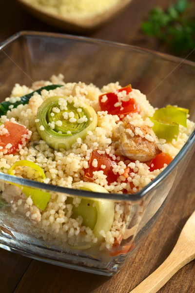Cuscús pollo puerro tomate plato servido Foto stock © ildi