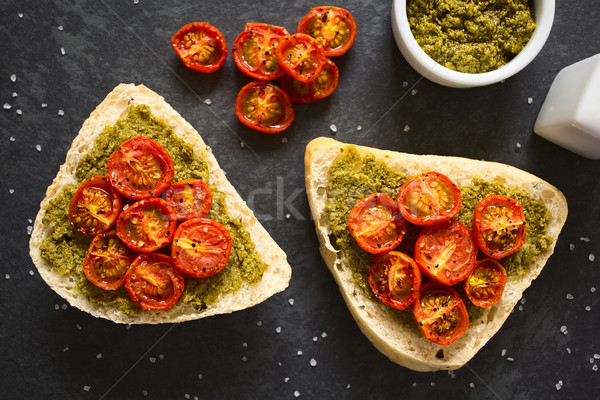 Bread Roll with Pesto and Roasted Tomato Stock photo © ildi