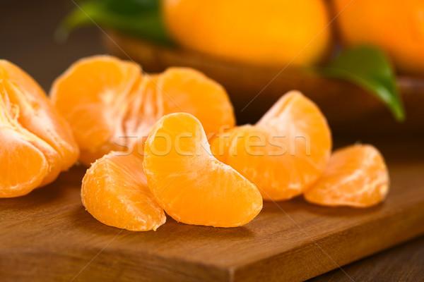 Mandarin fa deszka hát szelektív fókusz fókusz elöl Stock fotó © ildi