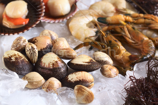 Stock photo: Mussels and Other Seafood on Ice