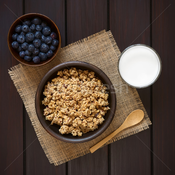 Breakfast Cereal with Blueberries and Milk Stock photo © ildi