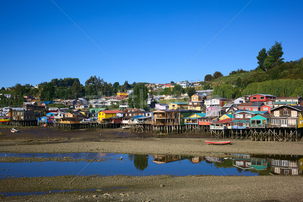 Palafito Stilt Houses in Castro, Chiloe Archipelago, Chile Stock photo © ildi