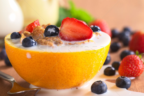 Wholewheat Cereal with Fresh Fruits and Milk Stock photo © ildi