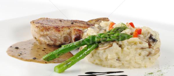 Rizottó spárga hús zöld mártás fehér Stock fotó © ildi