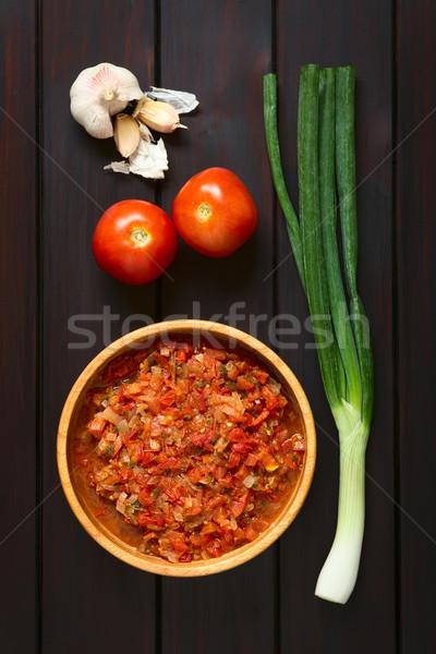 Mártás lövés salsa főtt hagyma paradicsom Stock fotó © ildi