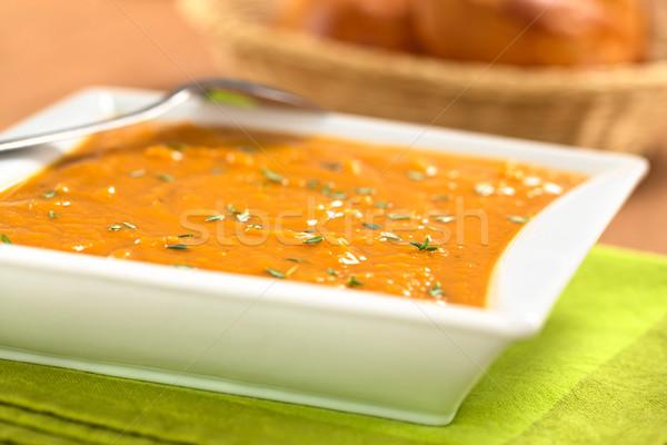 Patata dolce zuppa ciotola fresche fatto in casa messa a fuoco selettiva Foto d'archivio © ildi