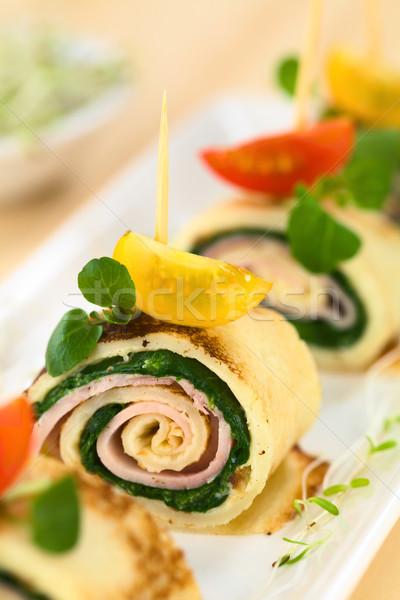 Crepe presunto espinafre dedo comida Foto stock © ildi