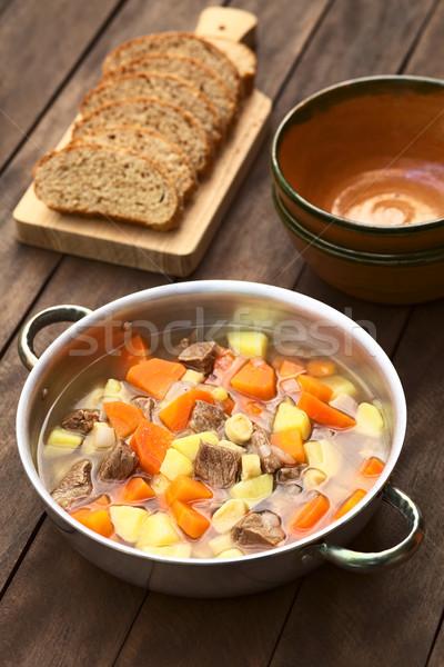 Húngaro sopa pote tradicional carne batata Foto stock © ildi