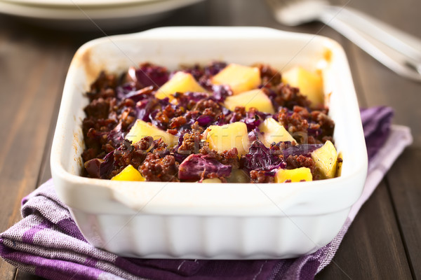 Baked Red Cabbage, Mincemeat and Potato Casserole Stock photo © ildi