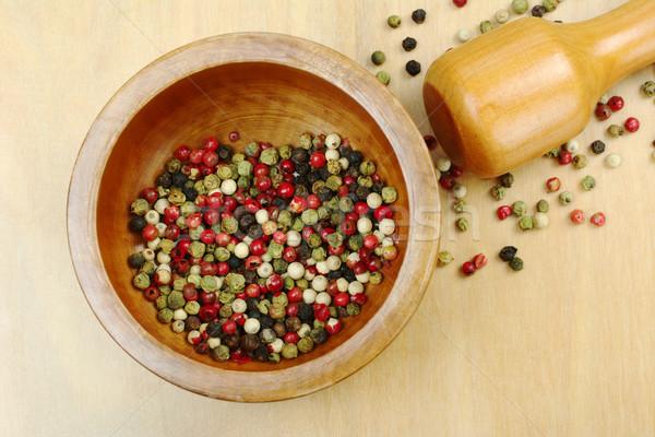 Peppercorns in Mortar Stock photo © ildi