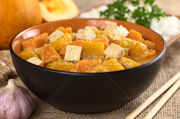 Tofu zucca patata dolce strigliare messa a fuoco selettiva focus Foto d'archivio © ildi