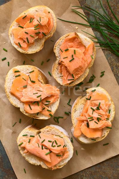 Sanduíche sanduíches cebolinha foco Foto stock © ildi