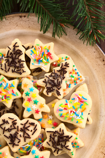 Colorful Sprinkled Christmas Sugar Cookies Stock photo © ildi