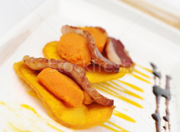 Duck Meat on Sweet Potato Puree and Chip Stock photo © ildi
