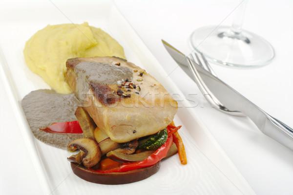 Stockfoto: Hoofd- · schotel · middellandse · zee · tonijn · aardappel