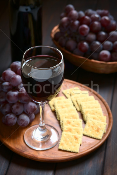 Glass of Red Wine and Grapes Stock photo © ildi