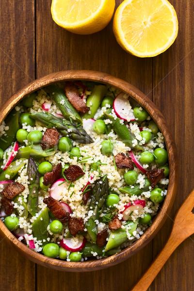 Couscous Asparagus Pea Radish Bacon Salad Stock photo © ildi