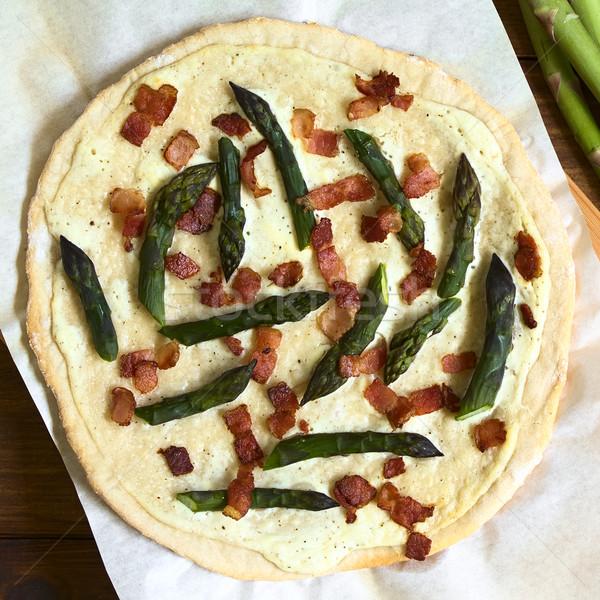 Asparagus and Bacon Tarte Flambee Stock photo © ildi