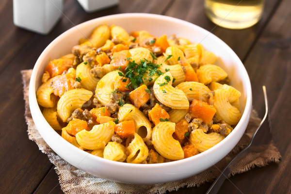 Macaroni Pasta with Pumpkin and Mincemeat Stock photo © ildi