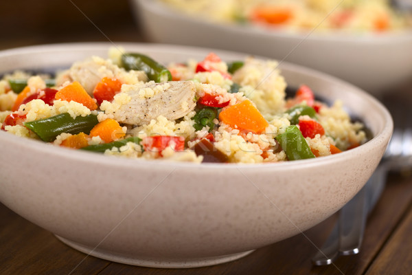 Couscous with Chicken, Green Bean, Carrot and Bell Pepper Stock photo © ildi