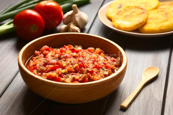 ソース サルサ 調理済みの タマネギ トマト 務め ストックフォト © ildi