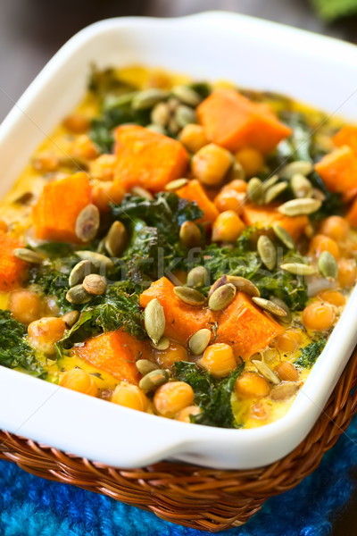 Pumpkin, Kale and Chickpea Casserole Stock photo © ildi