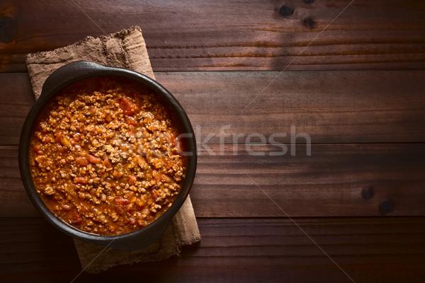 Сток-фото: домашний · соус · болоньезе · свежие · помидоров · лука · морковь