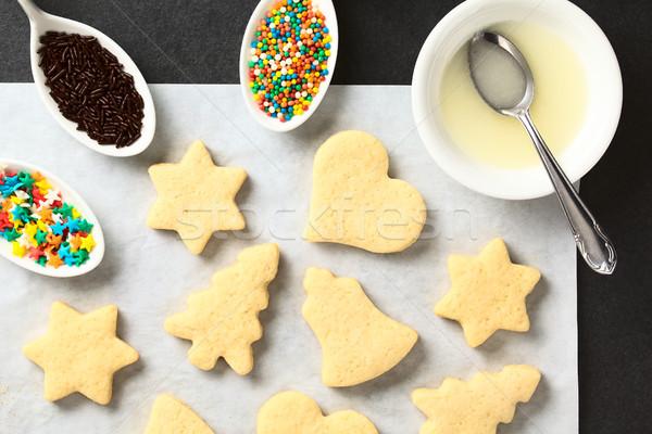 Casero azúcar cookies Navidad formación de hielo Foto stock © ildi