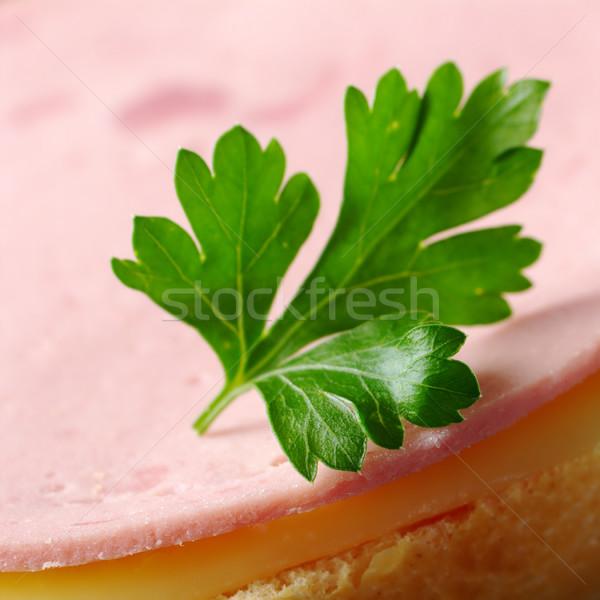 Сток-фото: петрушка · лист · сэндвич · холодно · Cut · сыра