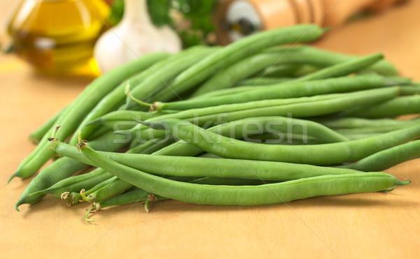 Vers ruw groene bonen olie knoflook Stockfoto © ildi