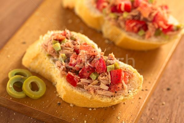 Bread with Tuna Olive and Tomato Spread Stock photo © ildi