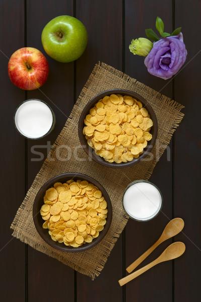 Cornflakes ontbijtgranen melk rustiek kommen Stockfoto © ildi
