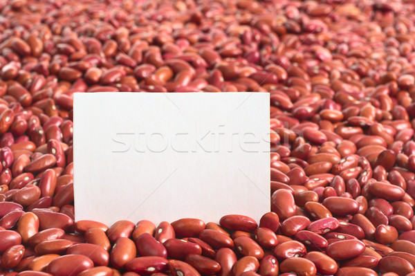 Stock photo: Raw Red Kidney Beans with Blank Card