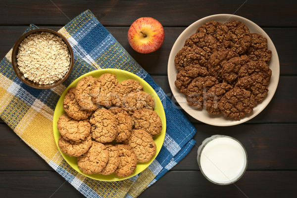 Chocolade appel cookies shot platen Stockfoto © ildi
