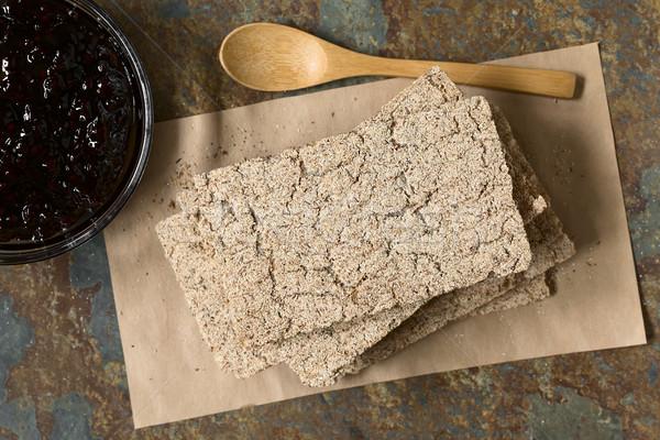 Wholemeal Rye Crispbread with Jam Stock photo © ildi