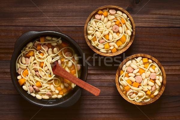 Chilean Porotos Con Riendas, Beans with Spaghetti Stock photo © ildi