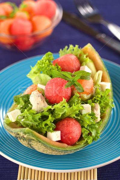 Melão salada de frango fresco salada melancia frango Foto stock © ildi