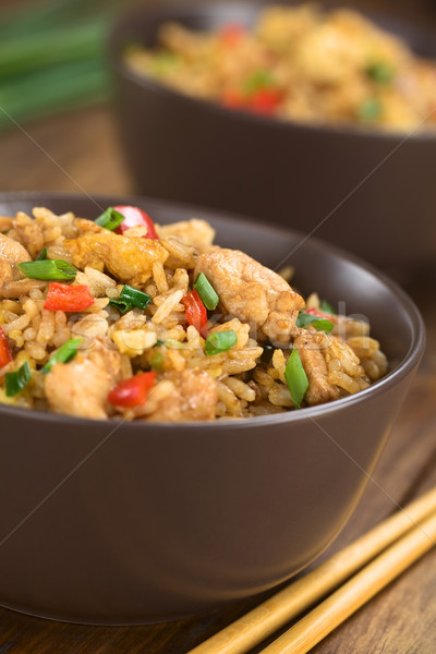 Fried Rice with Vegetables, Chicken and Eggs Stock photo © ildi