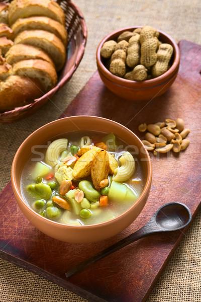 Arachide soupe bol traditionnel viande pâtes Photo stock © ildi