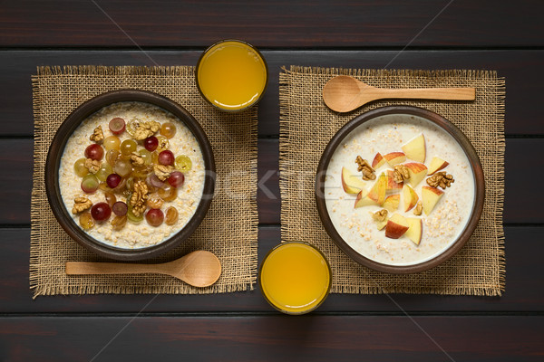 Oatmeal Porridge with Fruits and Walnuts Stock photo © ildi