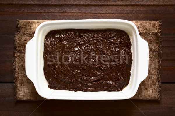 Basic Chocolate Cake Dough in Baking Pan Stock photo © ildi