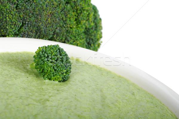 Stok fotoğraf: Brokoli · çorba · krem · beyaz · plaka · seçici · odak