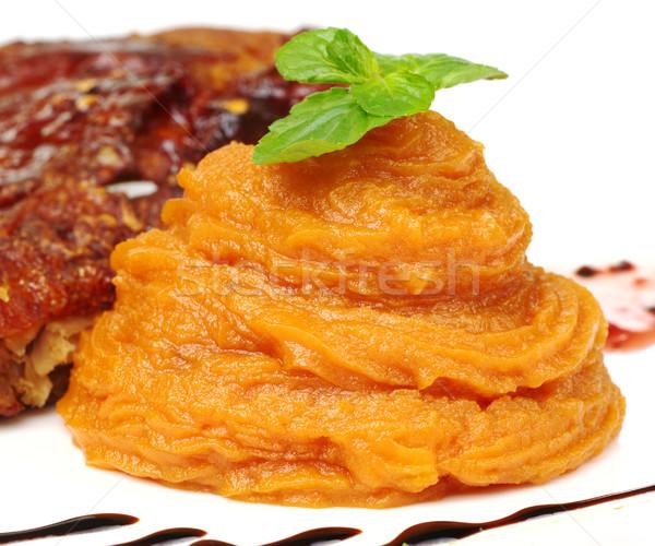 Patata dolce arancione menta foglia top Foto d'archivio © ildi